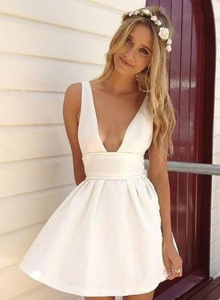 White v neck mini dress, cheap homecoming dress S977