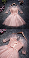 Cute Pink Tulle Scoop Neckline Half Sleeves Homecoming Dresses With Appliques  S97