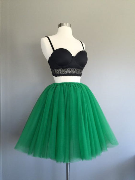 Two Piece Spaghetti Straps Tulle Short Homecoming Dress S980