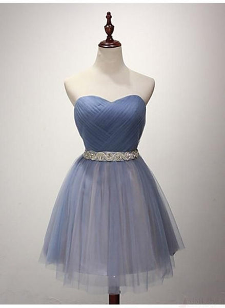 Beautiful Blue Sweetheart Knee Length Formal Dress with Cute Belt, Short Junior Homecoming Dress    S981