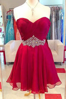 Elegant Red Sleeveless Chiffon Homecoming Dress,Wrapped Chest Short Homecoming Dress With Beading  S983