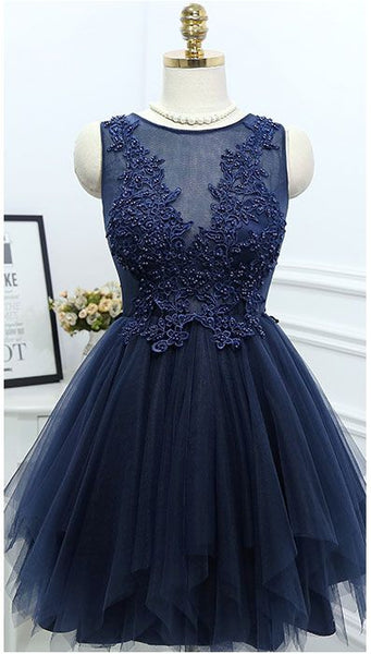 Short Homecoming Dress,Applique Homecoming Dress,Navy Blue Tulle Homecoming Dresses  S986