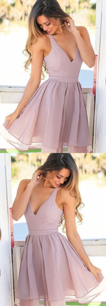 A-Line V-Neck Short Lavender Chiffon Homecoming Dress   S987