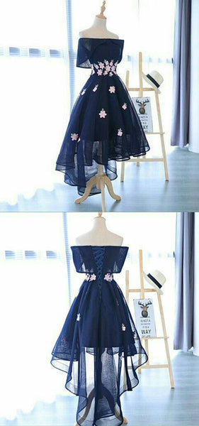 A-Line Dark Navy High-Low Appliques Short Homecoming Dress   S989