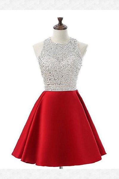 A-line Silver Beaded Top Red Satin Halter Homecoming Dresses   S991