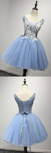 Scoop Short Blue Tulle Homecoming Dress Party Dresses With Appliques    S993