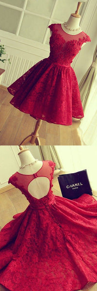 Crew Neck Lace Short Homecoming Dresses Hollow Back Red Graduation Dresses Cocktail Dresses Custom Made Cheap    S99