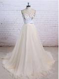 Champagne sweetheart neck tulle long prom dress, evening dress  S6368