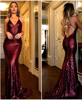 Chic Burgundy Prom Dresses Long Mermaid Modest Cheap Long Prom Dress With Sequins  S6393