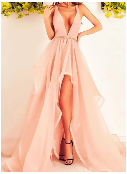 Light pink v neck tulle long prom dress, evening dress  S6355