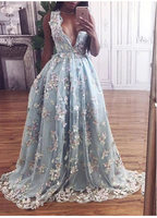 Unique sky blue v neck long prom dress, lace evening dresses  S6354