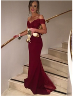 Long Burgundy Off Shoulder  Evening Party Cocktail Mermaid Prom Dress S6444