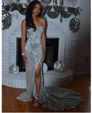 Mermaid Sweetheart Silver Long Prom Dresses Sweep Train Evening Dresses  S6461