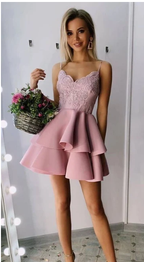 Spaghetti Straps Short Dusty Rose Homecoming Dresses S20686