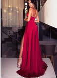 Sexy Burgundy Long Prom Dresses Split Front Evening Dresses S6460