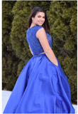 Two Pieces Prom Dress A-line Royal Blue  Scoop Beading Long Prom Dresses S6422