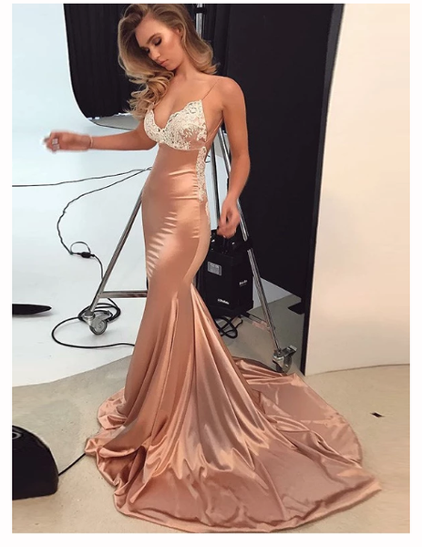 Mermaid Spaghetti Straps Prom Dress Lace   Open Back  Prom Dresses  S6435
