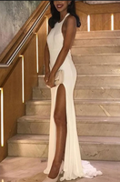 Sexy White Halter Sleeveless Backless Slit Mermaid Prom Dress S11590