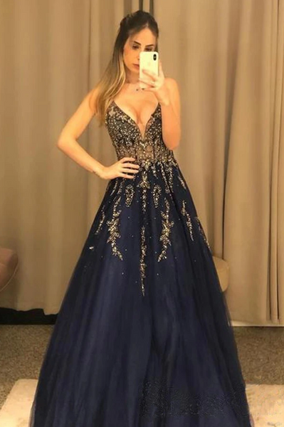 V Neck Line Sexy Party Dress Navy Blue Appliques Long Prom Dress With Beading  S11563