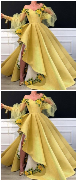Yellow Long Prom Dresses,Off the Shoulder Evening Dresses,Long Sleeves Prom Dresses S11147