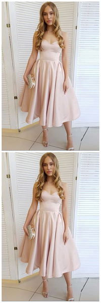 Cute sweetheart neck satin short prom dress, pink homecoming dress  S522