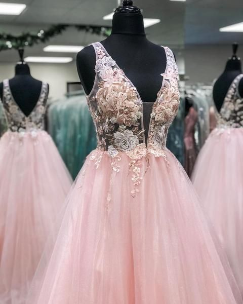 Deep V Neck and V Back Pink Lace Floral Long Prom Dresses, Pink Lace Floral Formal Evening Dresses S23490