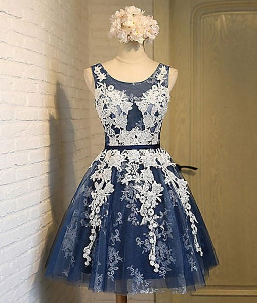 Cute round neck lace tulle dark blue short homecoming dress S23552