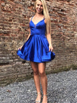 Cute V Neck Royal Blue Satin Short Homecoming Dresses S23668