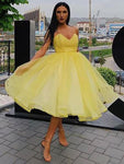 A-Line Ruffles Organza Sleeveless Sweetheart Knee-Length Homecoming Dresses S23664