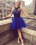 Blue tulle beads short blue homecoming dress S23679