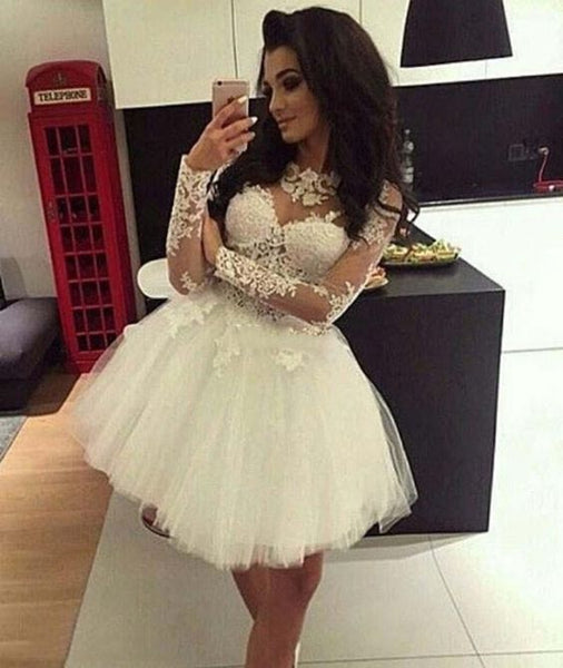 Jewel Long Sleeve Lace Appliques A Line Pleated Tulle Sheer Short Homecoming Dresses  S23653