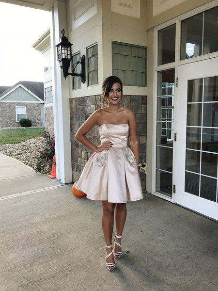Strapless A Line Pleated Satin Sexy Rhinestone Short Homecoming Dresses S23768
