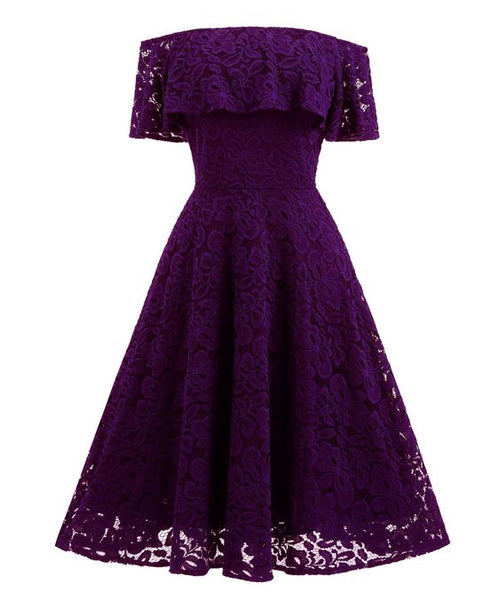 Women's Purple Off Shoulder Lace Swing Dress, Short Homecoming Dress S23566