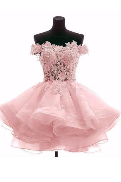Pretty Off Shoulder Pink Organza Short Cheap Homecoming Dresses S23567