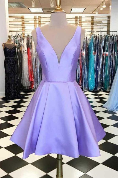 Simple Satin Short Lavender Homecoming Dress S23547