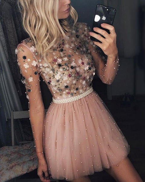 Cute Sparkly Pearls Beaded Blush Pink Homecoming Dress S23577