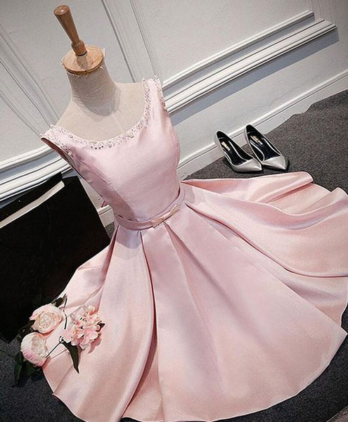 Pink round neck satin short homecoming dress S23555