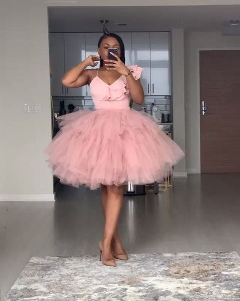 Pink Tulle Homecoming Dress, Graduation Dress S23590