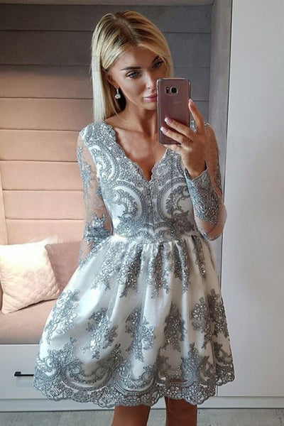 A-Line Homecoming Dresses,V-Neck Homecoming Dress,Long Sleeves Homecoming Dresses S23656