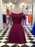Cute Backless Burgundy Short Homecoming Dresses S23548