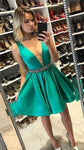 Deep V-Neck Short Green Satin Homecoming Dress with Beading S23662
