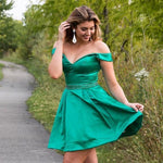 Off Shoulder Sweetheart Beaded Belt Satin Knee Length Sweetheart Homecoming Dress S23661