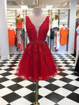 V Neck Short Red Lace Prom Dress, Short V Neck Red Lace Graduation Homecoming Dresses S23549