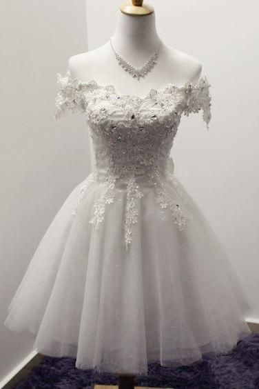 White Homecoming Dress,Lace Homecoming Gown,Tulle Homecoming Gowns S23569