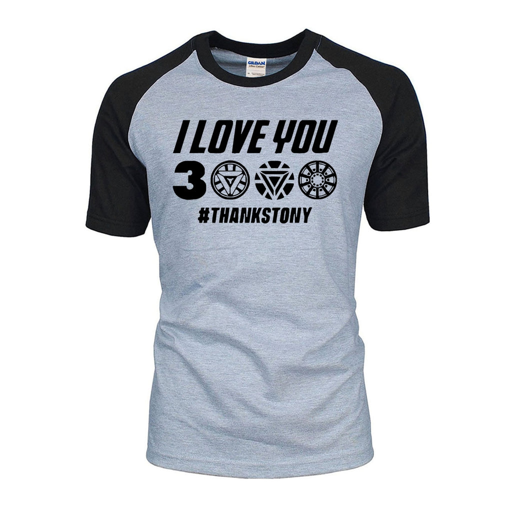 3f6cfae1f3 Avengers Endgame Iron Man Tony Stark Cotton T-Shirt I Love You 3000 Times  Thanks ...