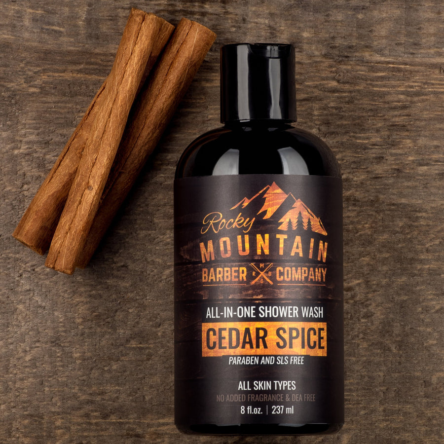 Rocky Mountain Barber Company Cedar Spice Shower Wash With Natural Cinnamon Ingredients
