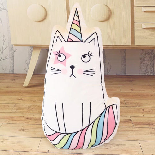 Unicorn-Cat Stuffed Plush Pillow - luwaluwashop