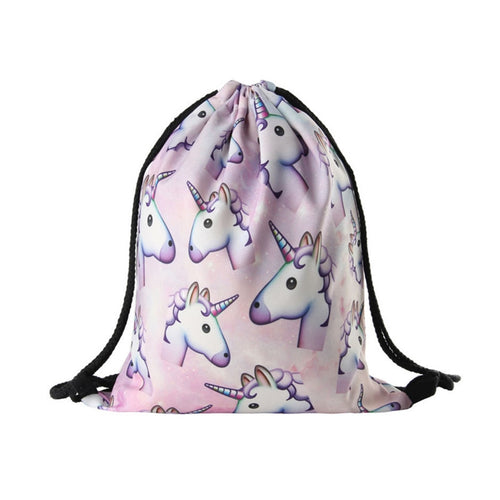 Unicorn Print Drawstring Backpack - luwaluwashop