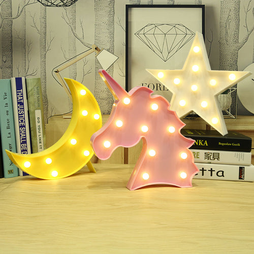 Unicorn Star 3D Led Lamp - luwaluwashop