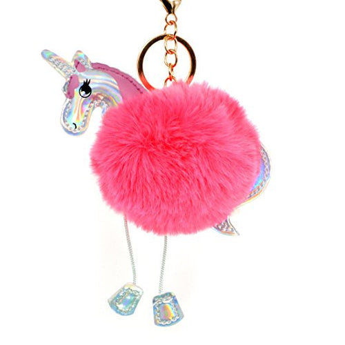 PomPom Unicorn Fur Ball Keychains - luwaluwashop